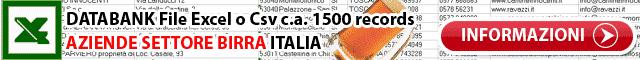 Databank Birrifici Birra Dati Excel xls csv tabella campi indirizzo email sito web Aziende Produttori