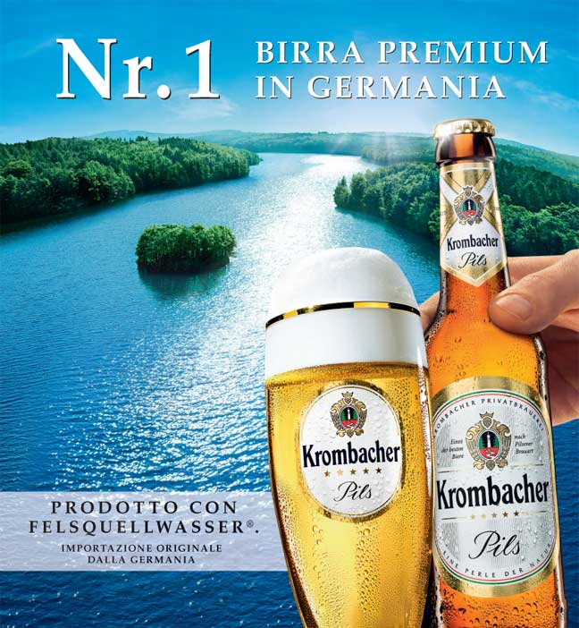 Krombacher Birra pubblicità advertising pagina pubblicitaria beer print