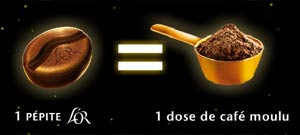 Equivalenza pepità quantità caffè dose or pepite d'arome