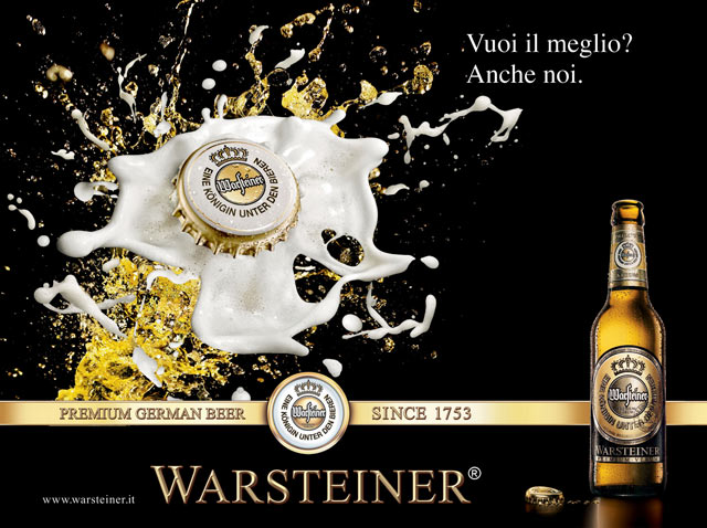 Campagna pubblicitaria advertising Warsteiner Birra Tedesca vuoi il meglio?
