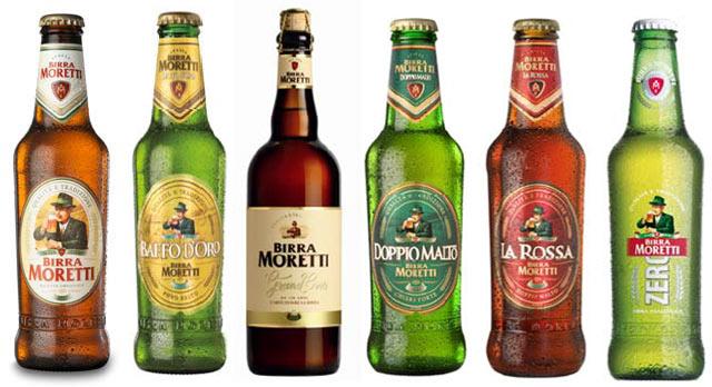 bottiglie vetro Birra Moretti,  Birra Moretti Baffo D'Oro, Birra Moretti Grand Cru, Birra Moretti Doppio Malto, Birra Moretti La Rossa, Birra Moretti Zero